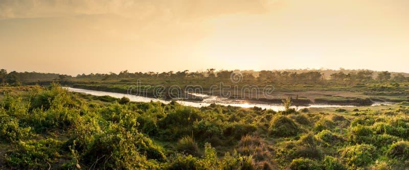 Solnedgång i djungeln, Chitwan nationalpark, Nepal fotografering för bildbyråer