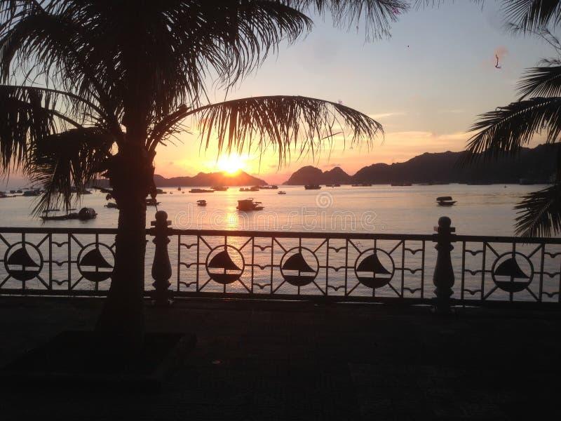 Solnedgång i en hamn royaltyfri foto