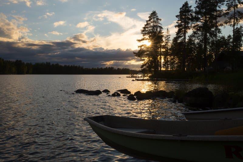 Solnedgång i Finnland #2 royaltyfria bilder
