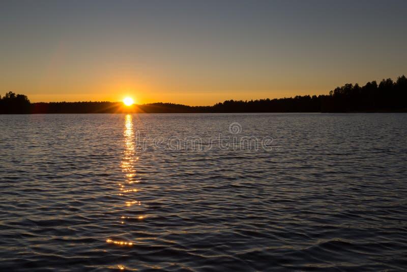 Solnedgång i Finnland #3 arkivbilder