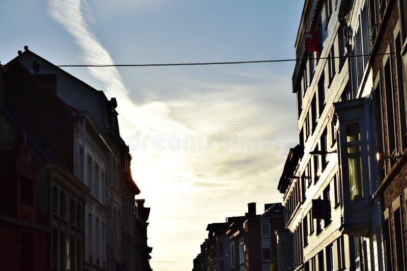 Solnedgång i gante Belgien royaltyfri foto