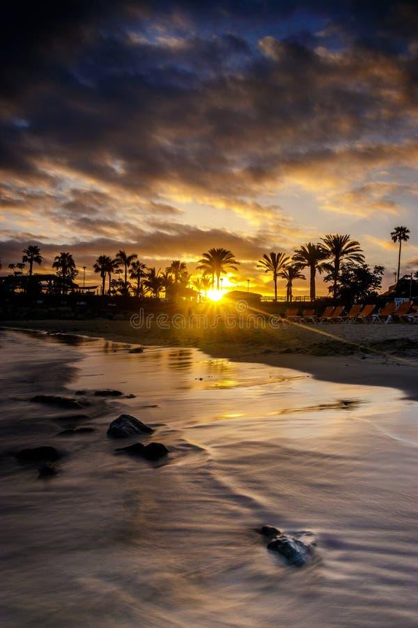 Solnedgång i Gran Canaria arkivbilder