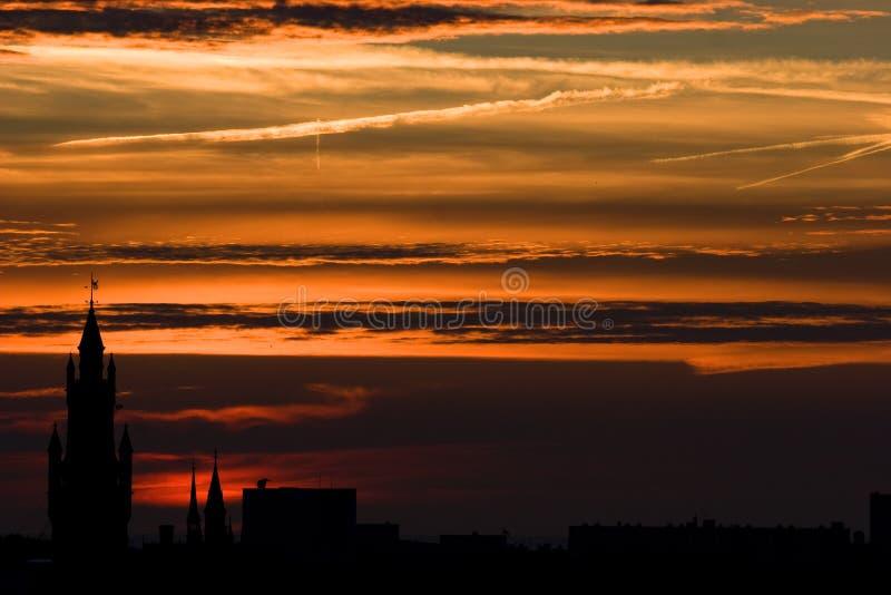 Solnedgång i hålan Haag royaltyfri fotografi
