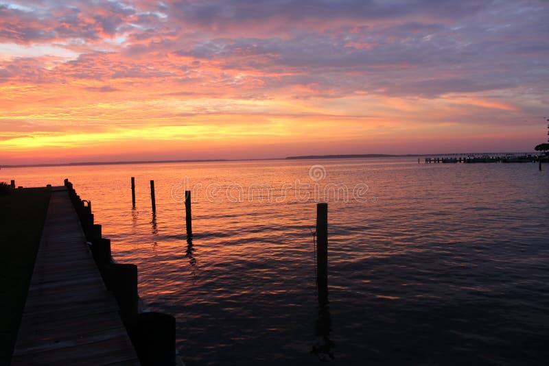 Solnedgång i havstaden, maryland, USA arkivbild