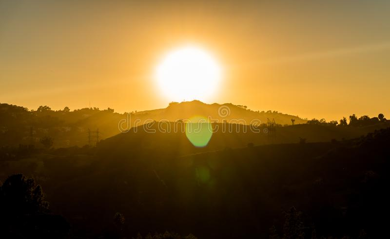 Solnedgång i hollywood royaltyfria bilder