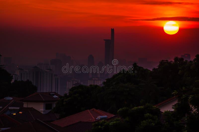 Solnedgång i Kuala Lumpur royaltyfria foton