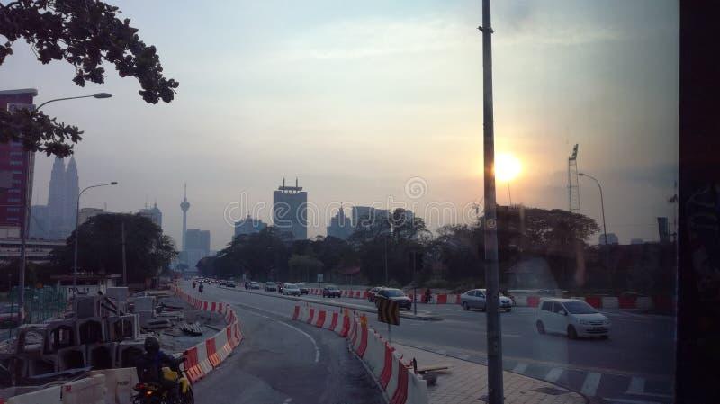 Solnedgång i Kuala Lumpur arkivbild