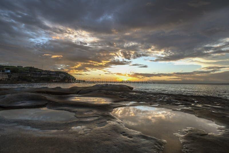 Solnedgång i La Perouse, Sydney, Australien royaltyfri fotografi