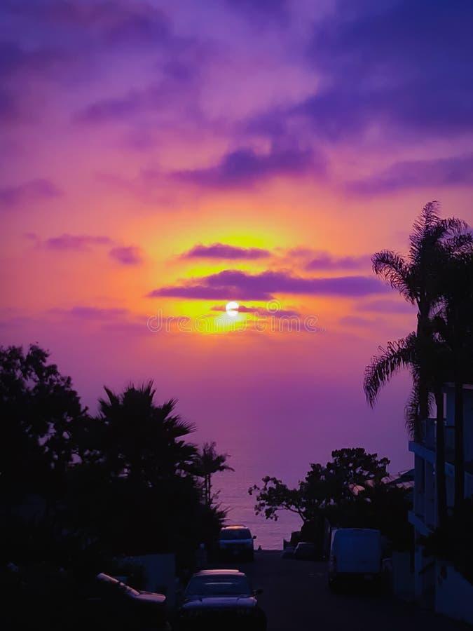 Solnedgång i Laguna Beach arkivfoton