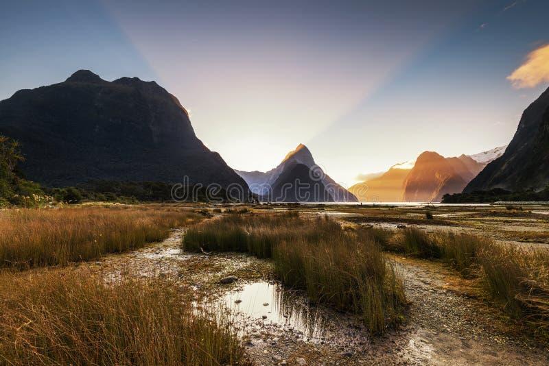 Solnedgång i Milford Sound, Nya Zeeland royaltyfri foto