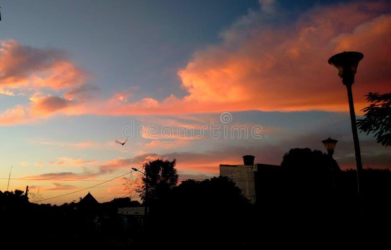 Solnedgång i min stad royaltyfria bilder
