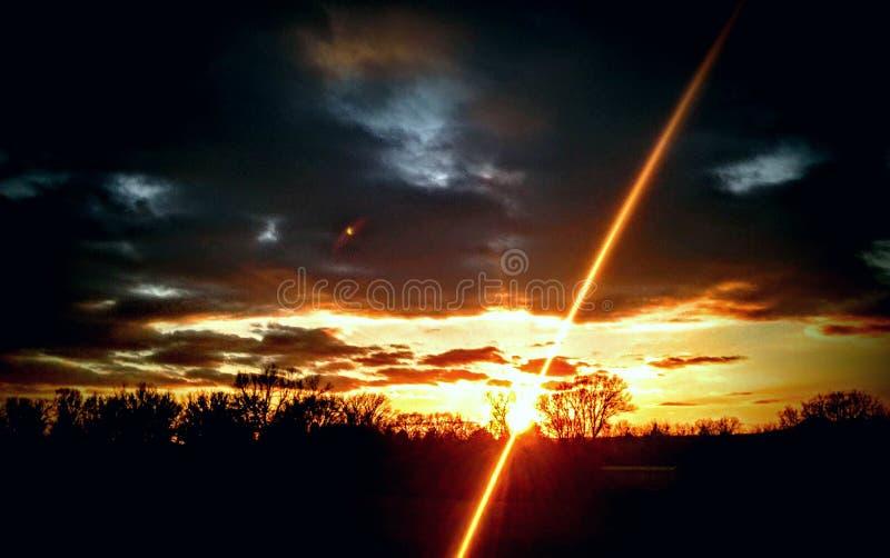 Solnedgång i Missouri royaltyfri bild