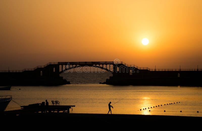 Solnedgång i Montaza, Alexandria, Egypten arkivbild
