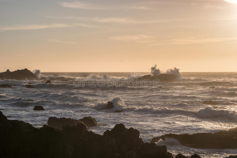 Solnedgång i Monterey arkivfoto