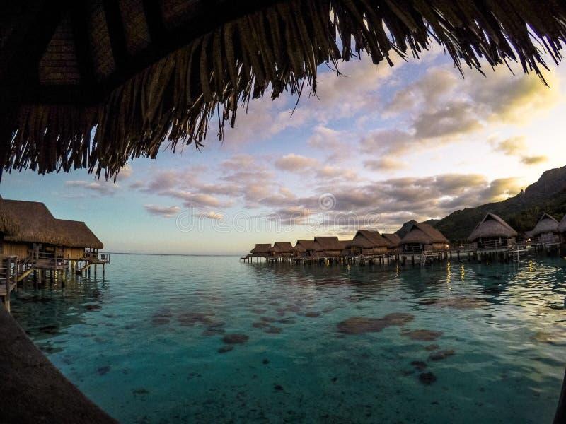 Solnedgång i Moorea, Polynesien arkivbilder