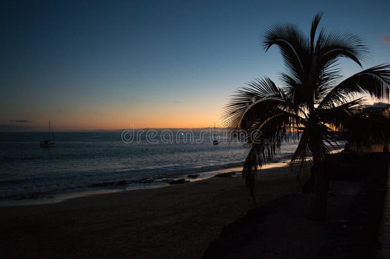 Solnedgång i Morro Jable, Fuerteventura arkivbilder