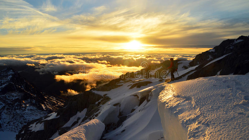 Solnedgång i mt Brewster, Nya Zeeland arkivbilder