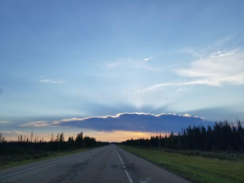 Solnedgång i Norther Alberta arkivfoton