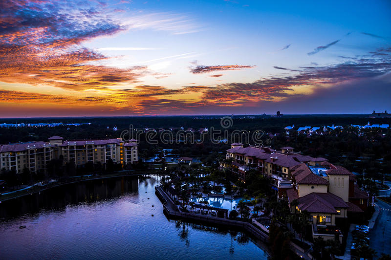 Solnedgång i Orlando royaltyfria foton