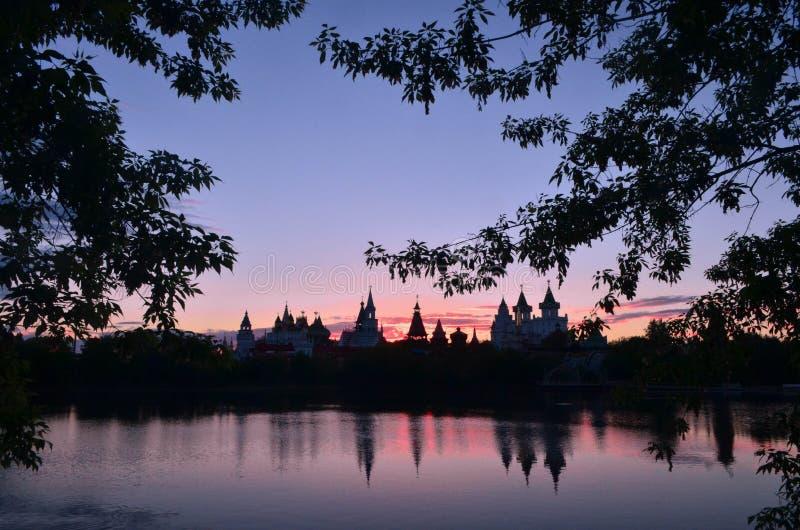 Solnedgång i park royaltyfri fotografi