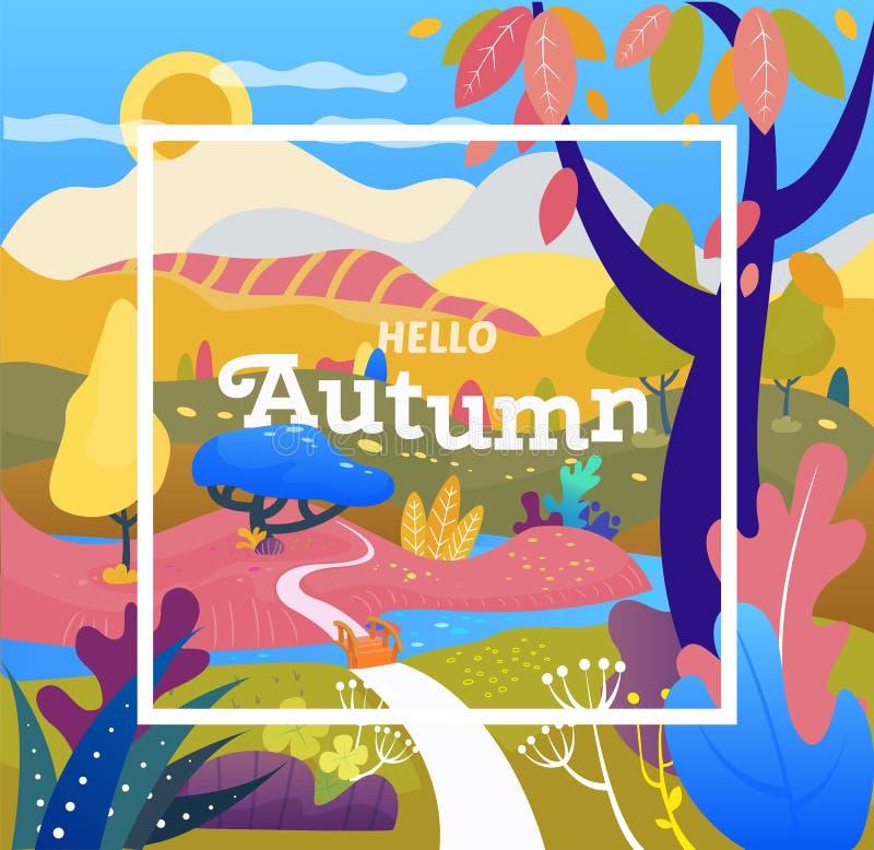Solnedgång i parkera Autumn Sale räkning Fantasiabstrakt begrepplandskap Enkel modern stil - natur med kullar och träd, berg vektor illustrationer