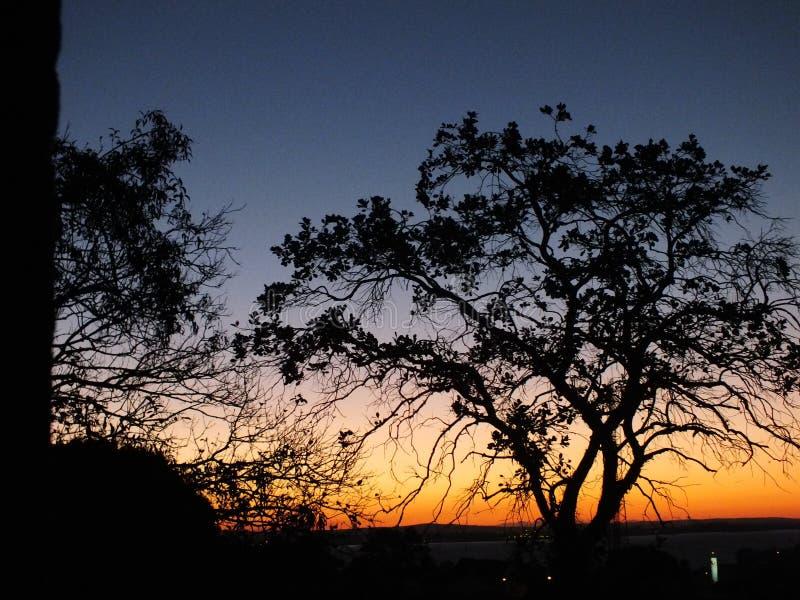 Solnedgång i Porto Alegre, Brasilien arkivfoton