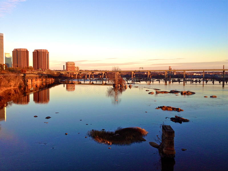 Solnedgång i Richmond Virginia royaltyfria foton