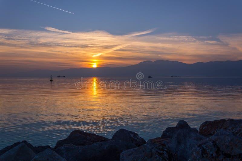 Solnedgång i Rijeka fotografering för bildbyråer