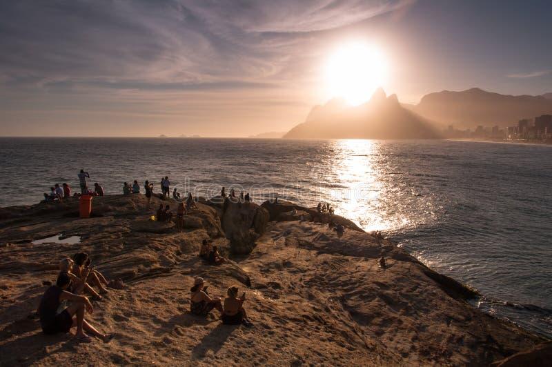 Solnedgång i Rio de Janeiro royaltyfri fotografi