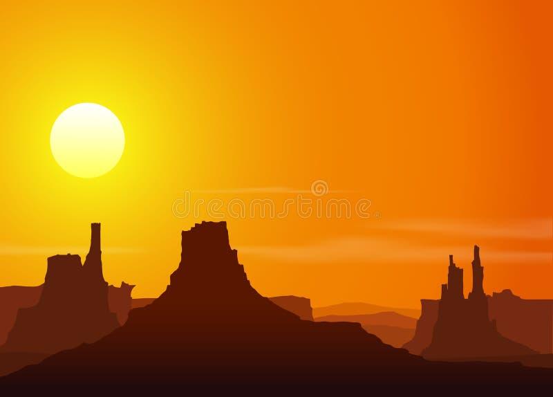 Solnedgång i Rocky Mountains royaltyfri illustrationer