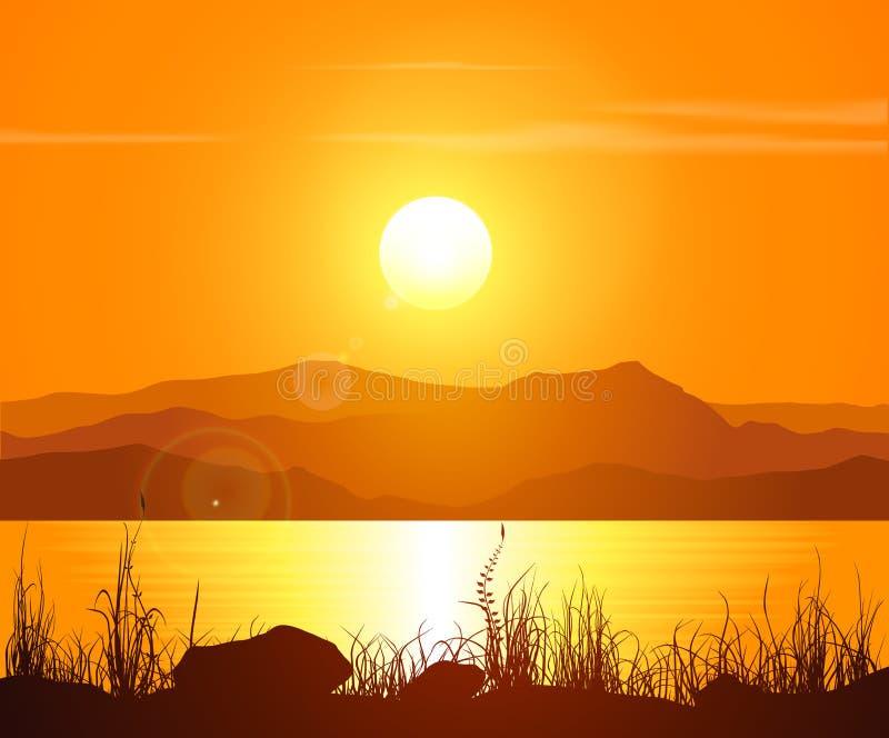 Solnedgång i Rocky Mountains vektor illustrationer