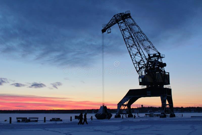 Solnedgång i södra port royaltyfria foton