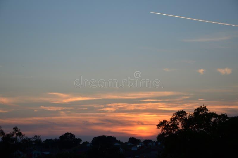 solnedgång i sandbach arkivfoto