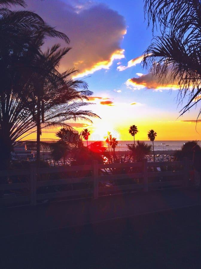Solnedgång i Santa Monica arkivfoto