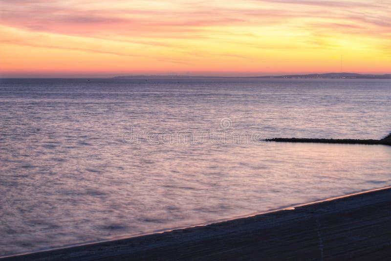 Solnedgång i Santa Pola arkivbild
