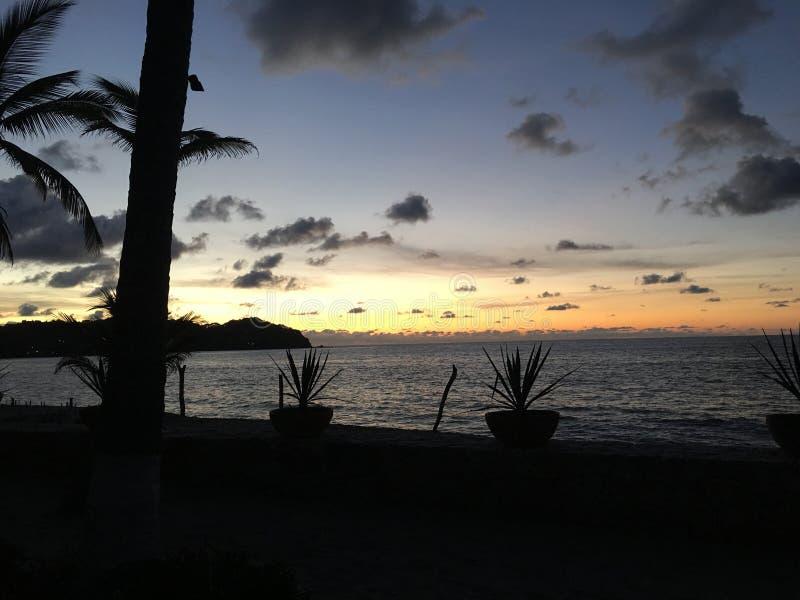 Solnedgång i Sayulita Mexico arkivbild