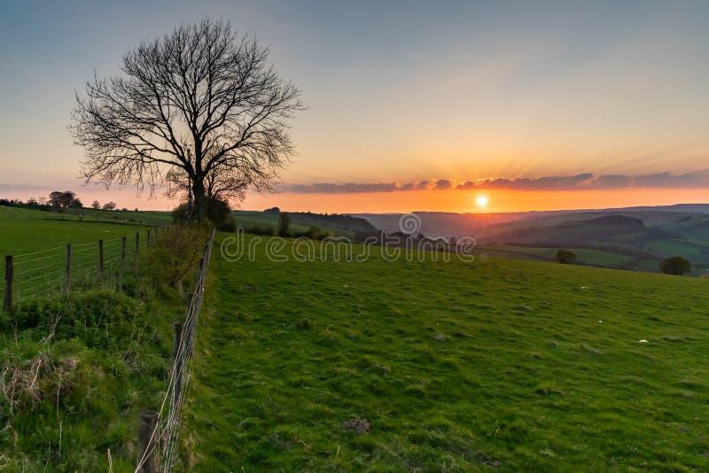 Solnedgång i Shropshire, England, UK royaltyfri foto