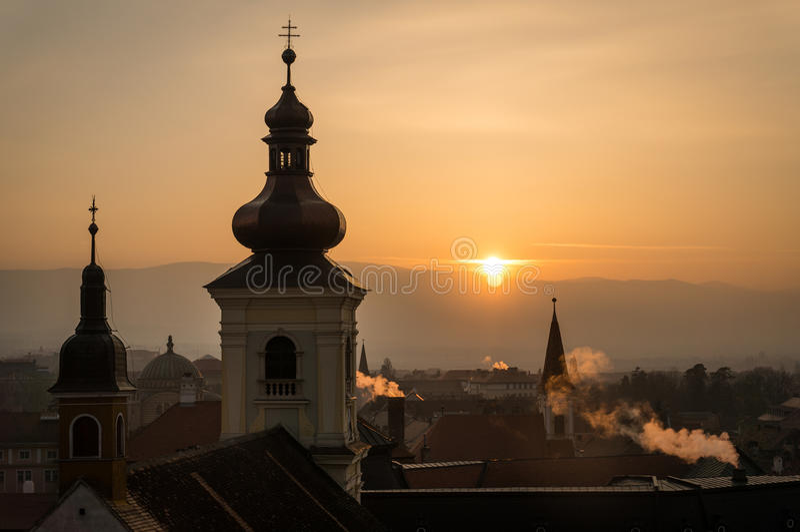 Solnedgång i Sibiu