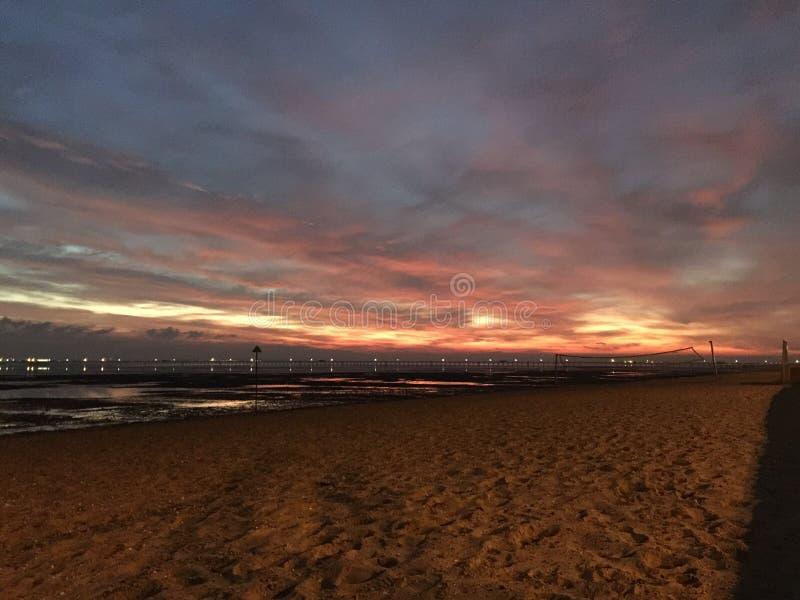 Solnedgång i Southend royaltyfria foton