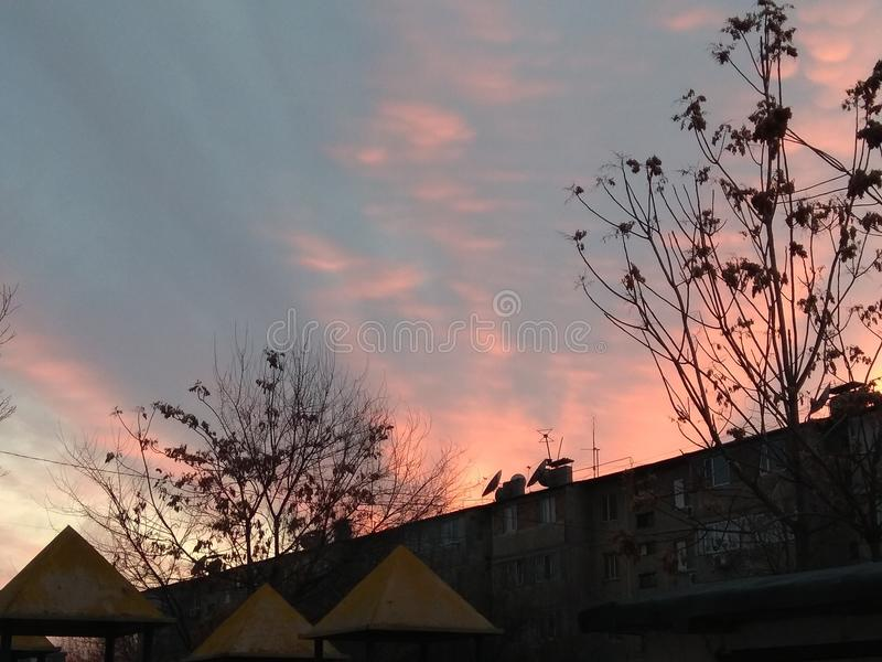 Solnedgång i staden royaltyfri bild