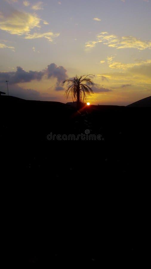 Solnedgång i sydvästliga Nigeria royaltyfri bild
