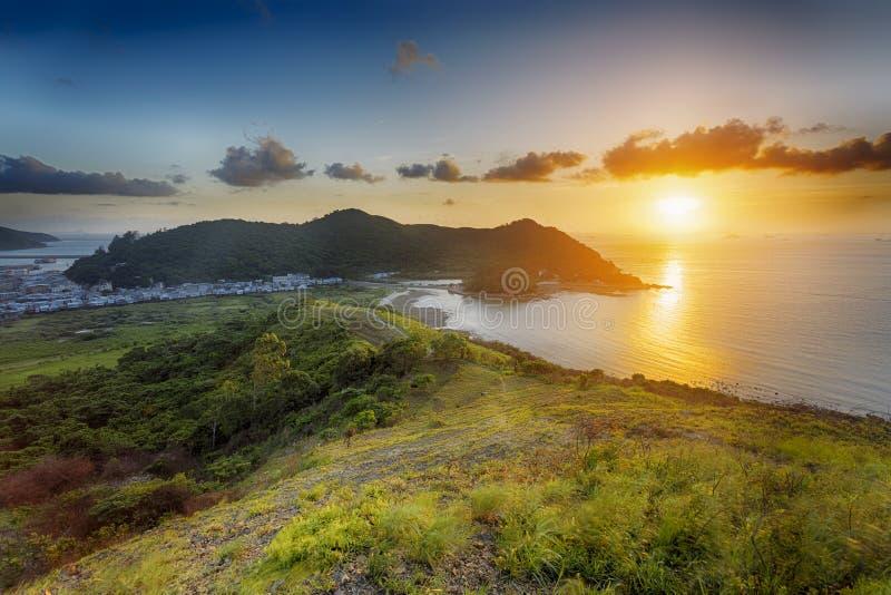 Solnedgång i Tai-nolla, Hong Kong royaltyfri foto