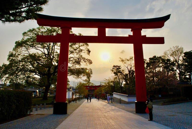 Solnedgång i Torii portar, Kyoto, Japan arkivfoto