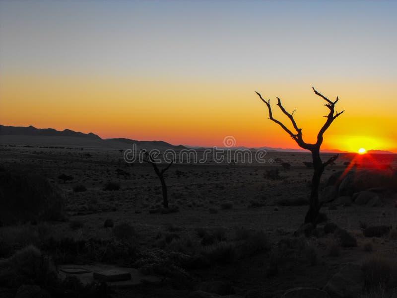 Solnedgång i torrt ökenbergområde arkivbild