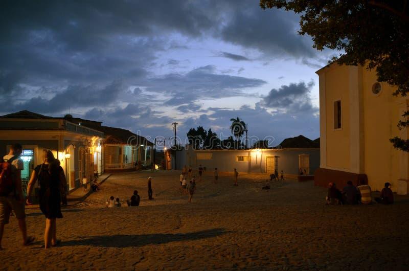 Solnedgång i Trinidad arkivbilder