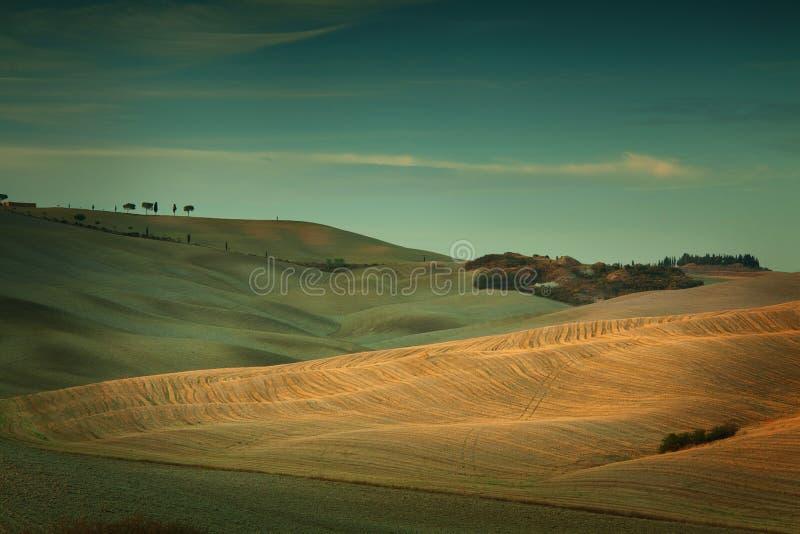Solnedgång i Tuscany Italien arkivfoto