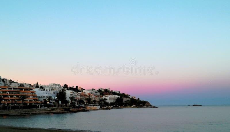 Solnedgång Ibiza royaltyfria foton