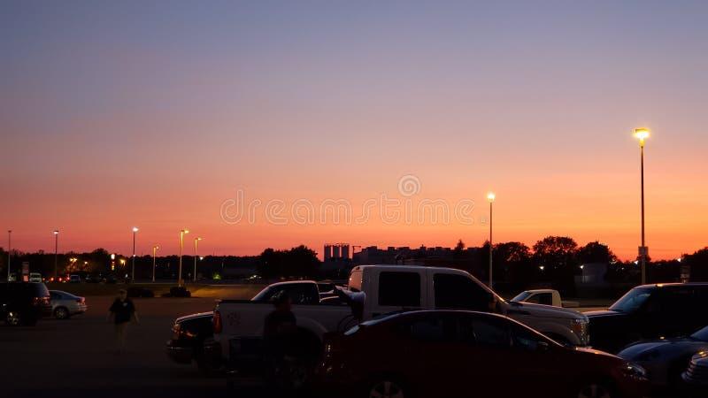 Solnedgång Juli 23 i Anderson IN arkivfoton