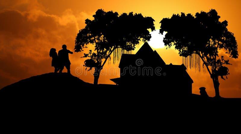 Solnedgång med familjen arkivfoto