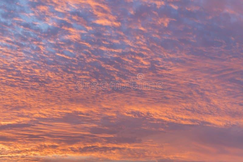 Solnedgång med orange himmel Varm ljus vibrerande himmel för apelsin- och gulingfärgsolnedgång clouds solnedgång arkivbild
